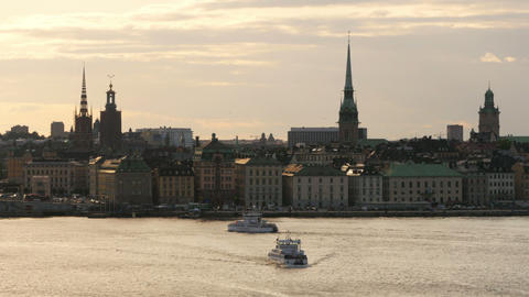 STOCKHOLM - SWEDEN, AUGUST 2015: old city view at sunset Footage