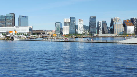 OSLO - NORWAY, AUGUST 2015: barcode project high-rise apartments Footage