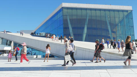 OSLO - NORWAY, AUGUST 2015: people at opera house Footage