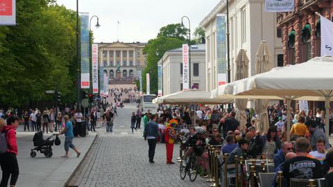 OSLO - NORWAY, AUGUST 2015: karl johans gate street view Footage