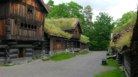 people at norwagian village houses with green grass rooftop, norway, 4k Footage
