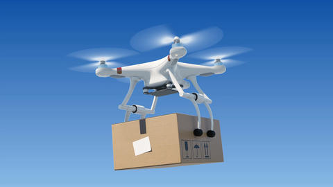 Quadcopter Delivering a Package in Blue Sky. Looped 3d Animation with Green Animation