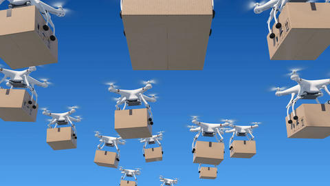 Many Drones Flying in the Blue Sky and Delivering Packages. Looped 3d Animation Animation
