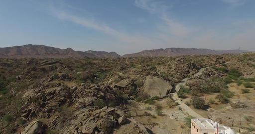 Flying Over Rocky Desert Landscape Footage