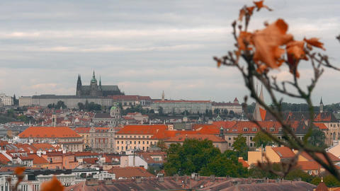 Aerial view of the Old Town architecture with red roofs in Prague , Czech Footage