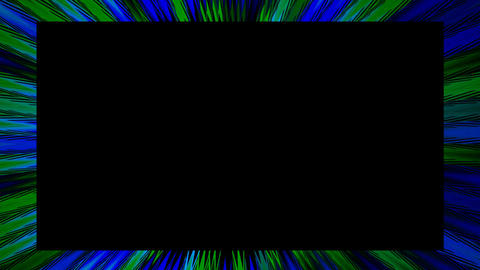 Video frame in abstract design. Green and blue bokeh lights flowing on black CG動画素材