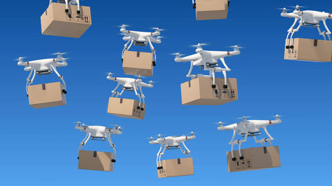 Many Quadcopters Rising Up in the Blue Sky and Delivering Parcels. Looped 3d Animation