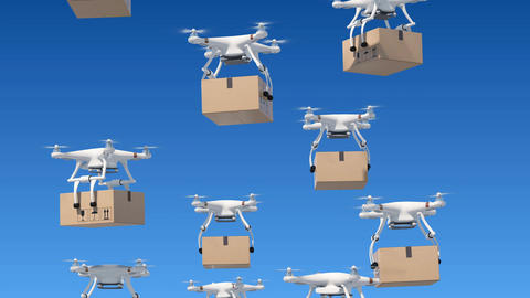 A lot of Quadcopters Rising Up in the Blue Sky with Packages. Looped 3d Animation
