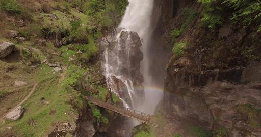 Waterfall Behind Wooden Bridge Footage