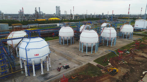 Drone View Petrol Reservoirs on Manufacturing Plant Territory Live Action