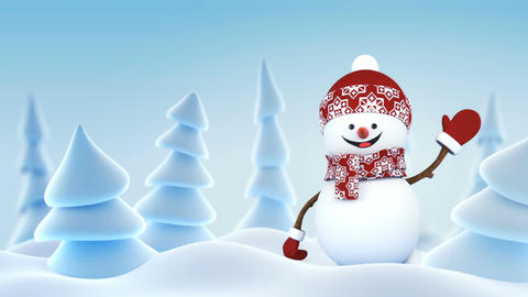 Funny Snowman in Red Hat Greeting with Hand and Smiling in Winter Forest. Last Animation