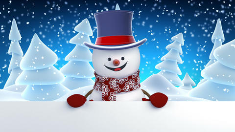 Funny Snowman in High-Hat Greeting with Hands and Smiling. Beautiful 3d Cartoon Animation
