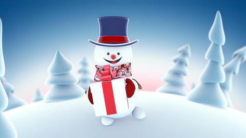 Funny Snowman in High-hat Walking in Winter Forest Holding a Gift Smiling Animation