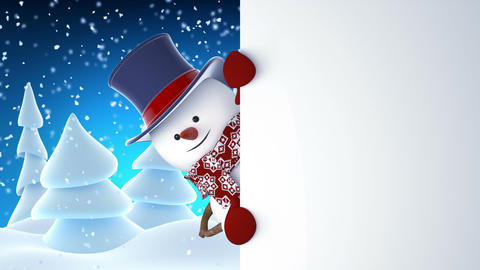 Funny Snowman in High-Hat Waving and Laughing at White Board. Beautiful 3d Animation