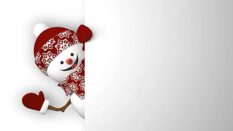 Funny Snowman in Red Hat Greeting with Hands and Smiling. Beautiful 3d Cartoon Animation
