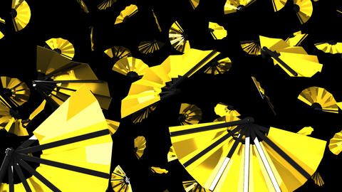 Golden Fans On Black Background CG動画