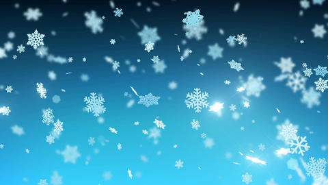Big Snowflakes Falling with Sparks and Flares in Night Sky. Winter Snowfall Animation