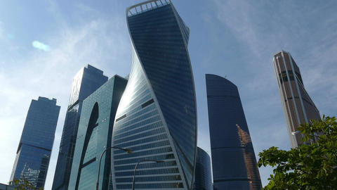 Moscow city against the blue sky and clouds - in the afternoon Footage