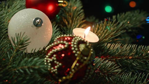 Christmas tree with candles and baubles Footage
