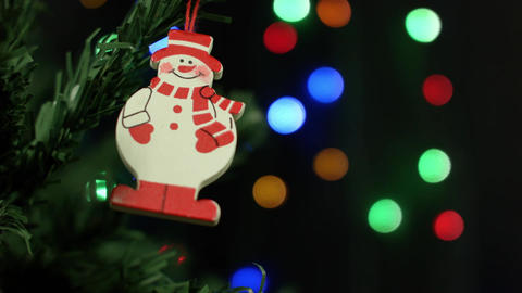 Snowman and Christmas ornaments for the Christmas tree on the background of Footage