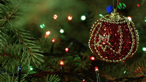 beautiful Christmas composition, Christmas tree with ball and garland Footage