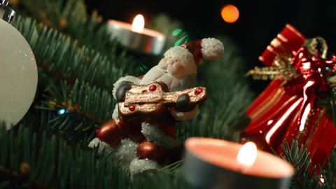 Christmas decorations with Santa and garland Footage