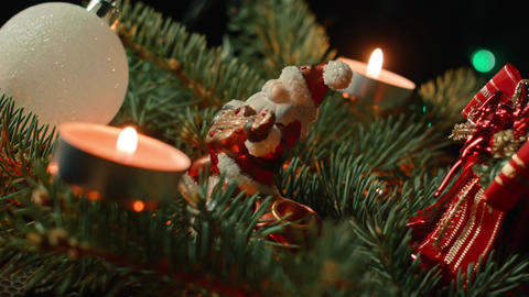 Christmas with Santa, a Christmas tree decorated with baubles and candle Footage