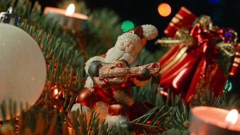 Christmas balls in front of a light background, a toy... Stock Video Footage