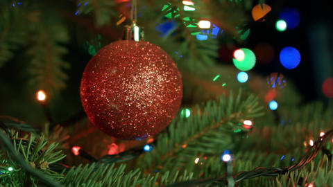 Christmas composition, Christmas tree with red ball on the background of Footage