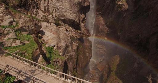 Magical Fairytale Wooden Bridge with Rainbow Footage
