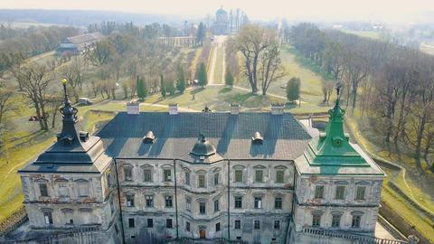 Aerial view of Pidhirtsi Castle, Ukraine Footage