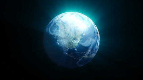 Planet earth with shine effect on black background Fotografía