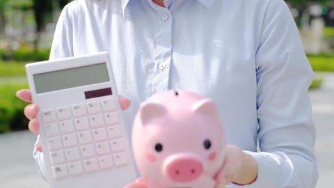 pink piggy bank Footage