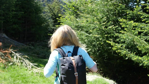 Blonde Woman Hikes Near Trees Footage
