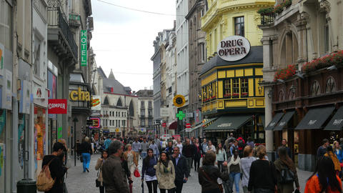 BRUSSELS - BELGIUM, AUGUST 2015: daily life in streets Footage