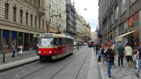 PRAGUE - CZECH REPUBLIC, AUGUST 2015: tram on streets Footage