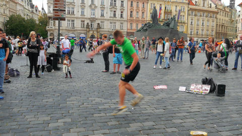 PRAGUE - CZECH REPUBLIC, AUGUST 2015: juggler playing tiny ball Footage