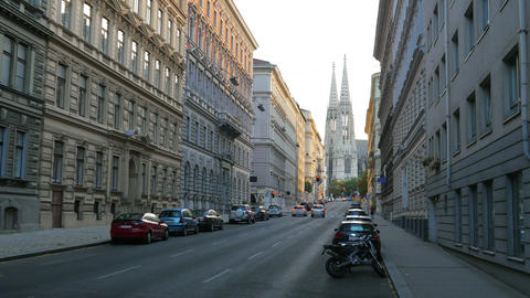 street near freud museum, votive church at background, vienna, austria Footage