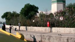 Turkey the Aegean Sea Turgutreis 080 berth of yellow hydrofoil ferry Footage