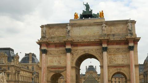 view of louvre museum, paris, france Footage