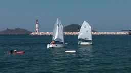 Turkey the Aegean Sea Turgutreis 090 sailing school and lighhouse Footage