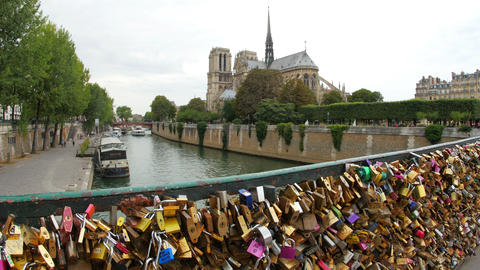 love lock bridges near notre dame de paris, france Stock Video Footage