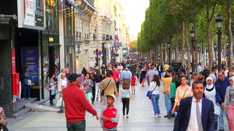 PARIS - FRANCE, AUGUST 2015: champs elysees pedastrian walking view Footage