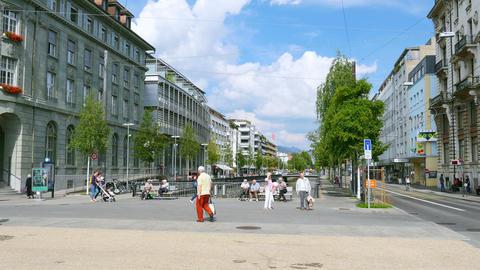 BIEL/BIENNE - SWITZERLAND, AUGUST 2015: streets daily life Footage
