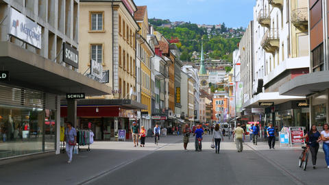 BIEL/BIENNE - SWITZERLAND, AUGUST 2015: downtown swiss streets view Footage
