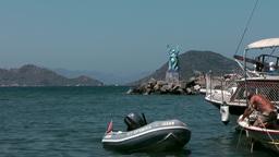 Turkey the Aegean Sea Turgutreis 012 rubber dinghy from a sailing boat Footage