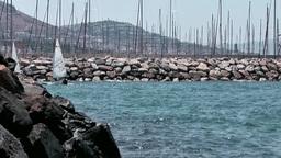 Turkey the Aegean Sea Turgutreis 024 many sailing masts Footage