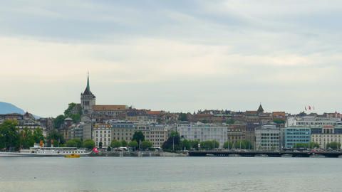 GENEVA - SWITZERLAND, AUGUST 2015: city and lake view Footage