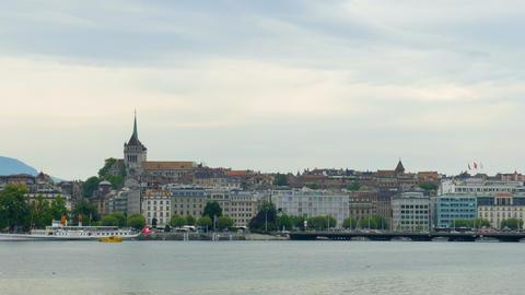 GENEVA - SWITZERLAND, AUGUST 2015: city and lake view Footage
