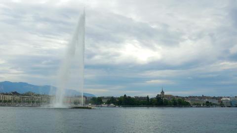 jet d'eau fountain at geneva lake, switzerland Footage